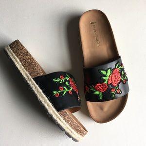 Embroidered rose slip on footbed espadrille sandal
